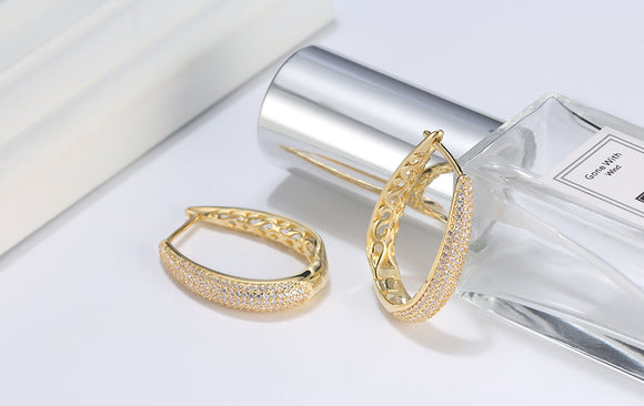 Hoop Earrings | Paved with AAA Austrian Cubic Zirconia | Gold