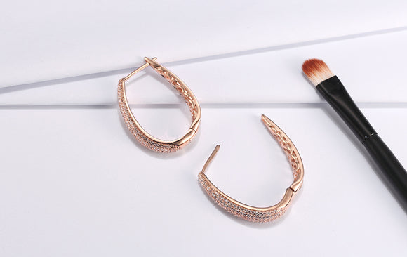 Hoop Earrings | Paved with AAA Austrian Cubic Zirconia | Rose Gold