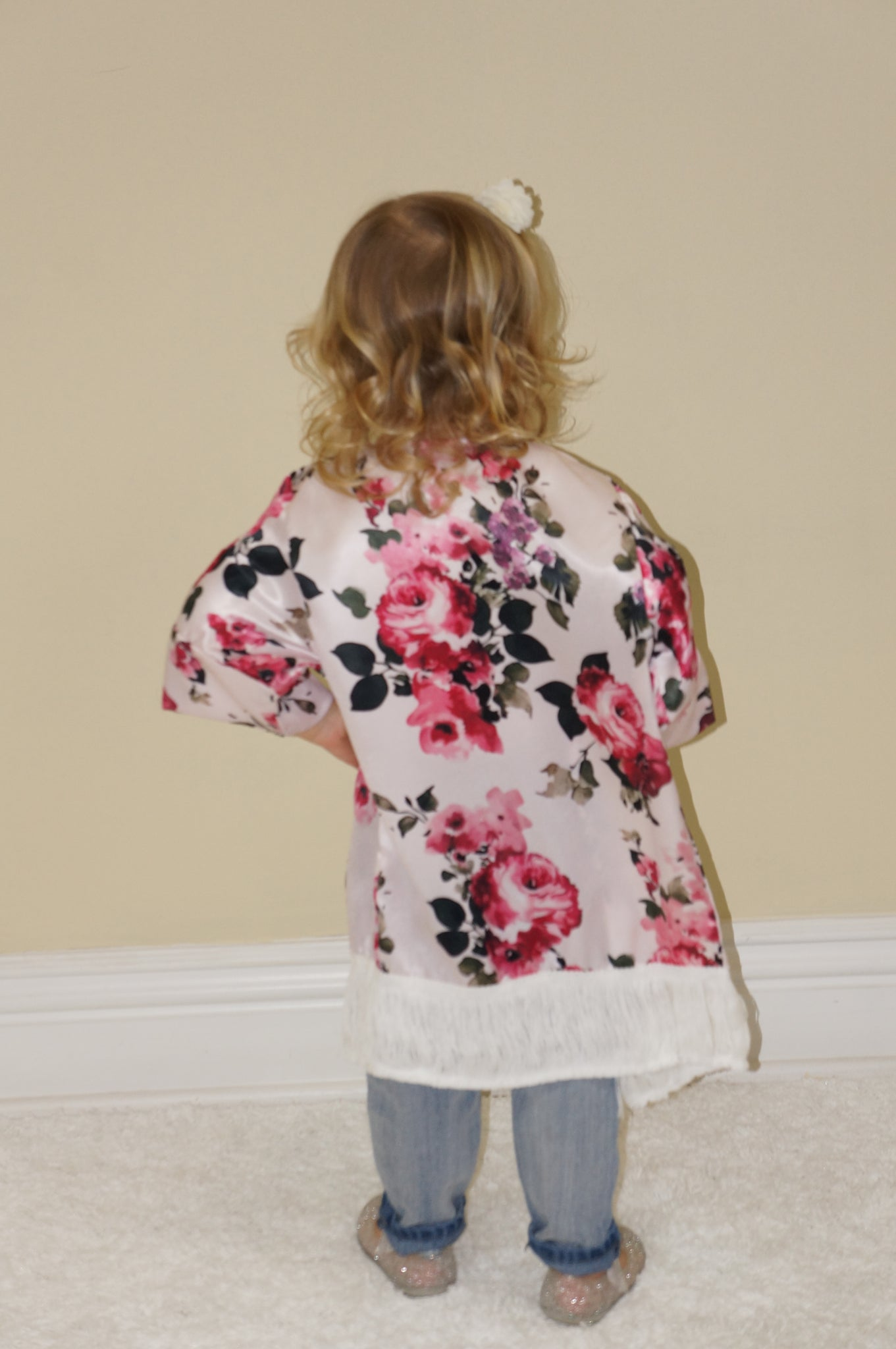 1b46ea01e9 ... Girl's White Floral Satin Kimono Jacket - The 90210 Tastemakers Mommy &  Me Boutique ...