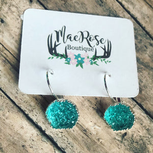 Aqua Faux Druzy in Silver Princess Cut Dangles