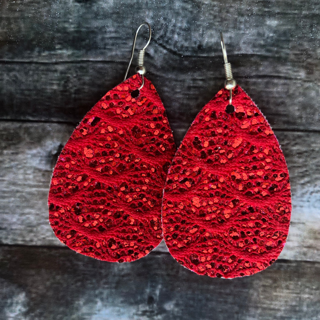 Red Lace Faux Leather Earrings