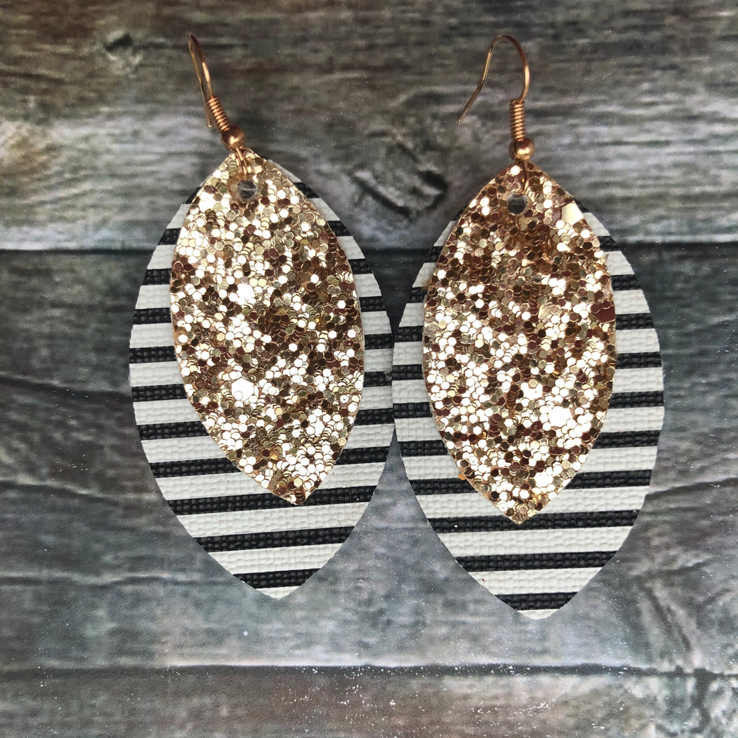 Gold Glitter on Stripes Petal Faux Leather Earrings