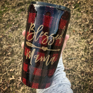 Blessed Mama Buffalo Plaid Glitter Tumbler
