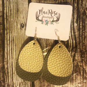 Olive Green & Gold Leather Dangles