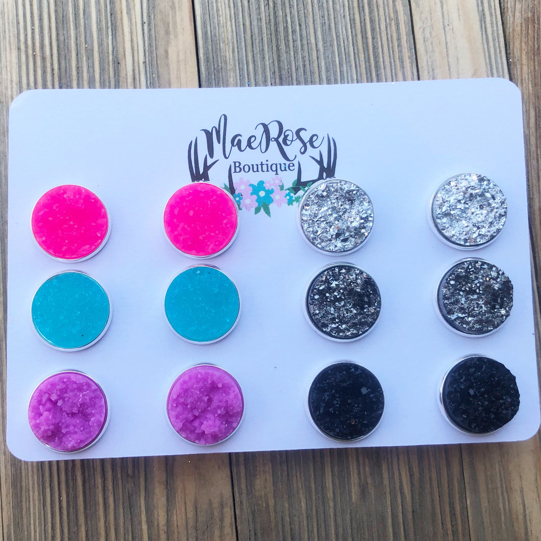 Set of 6 Faux Druzy Studs in Silver Settings