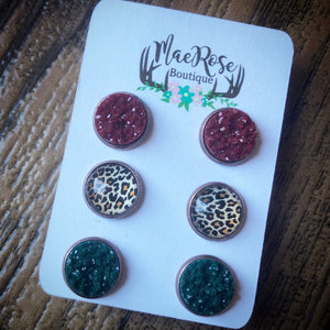 Set of 3 Maroon, Cheetah, Dark Green Druzy in Red a Copper Studs