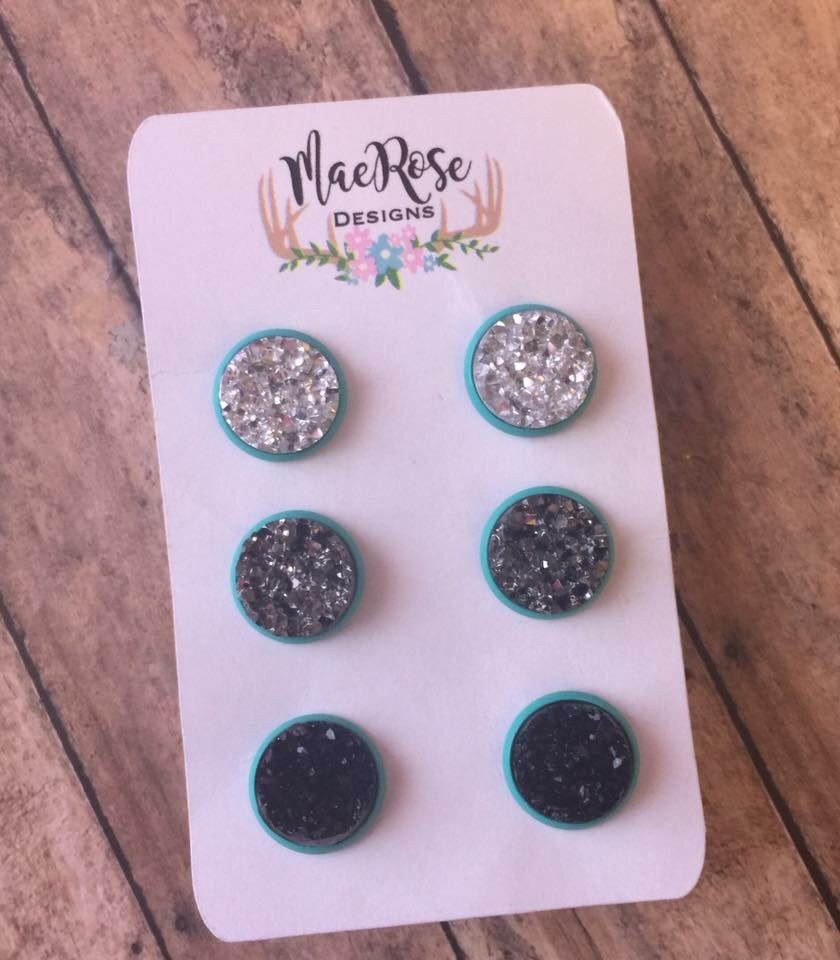12mm Set of 3 Silver Gunmetal & Black Druzy in Turquoise Studs