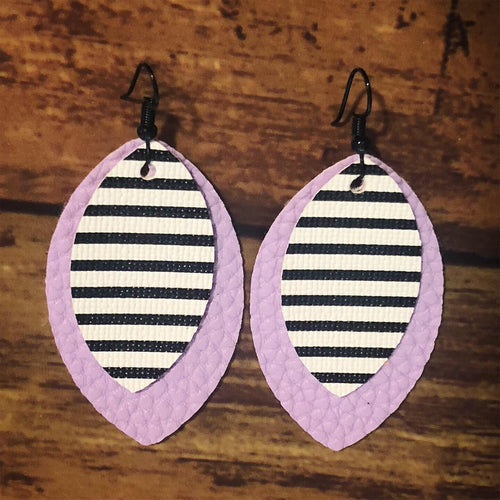 Stripes on Lilac Faux Leather Petals