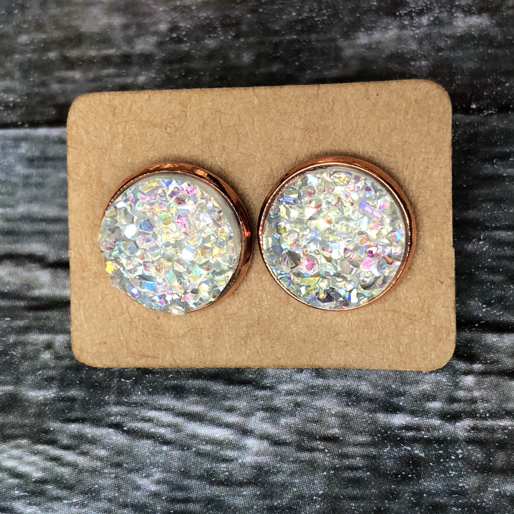 12mm Iridescent Clear Faux Druzy in Rose Gold Studs