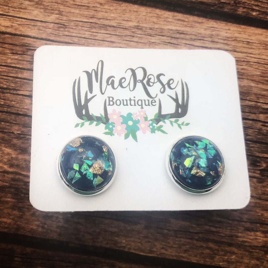 Navy Foil Flake Druzy in Silver Studs