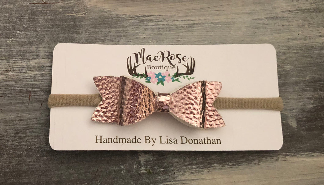 Metallic Rose Gold Faux Leather Bow