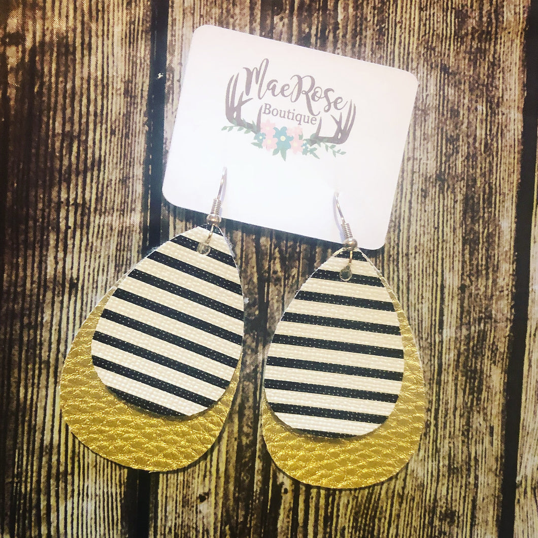 Gold & Stripes Faux Leather Dangles