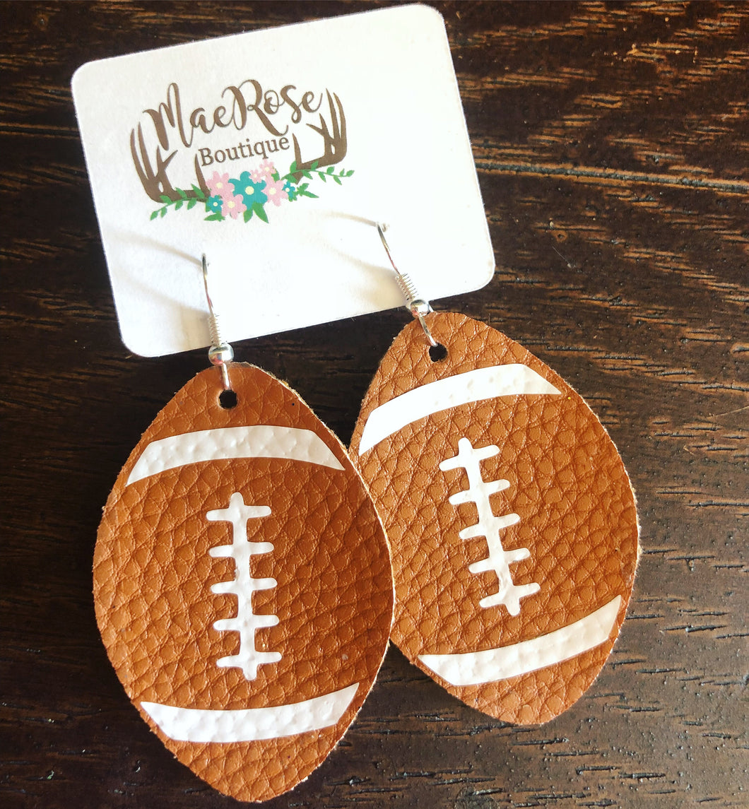 Football Faux Leather Dangles