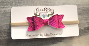 Metallic Hot Pink Leather Bow