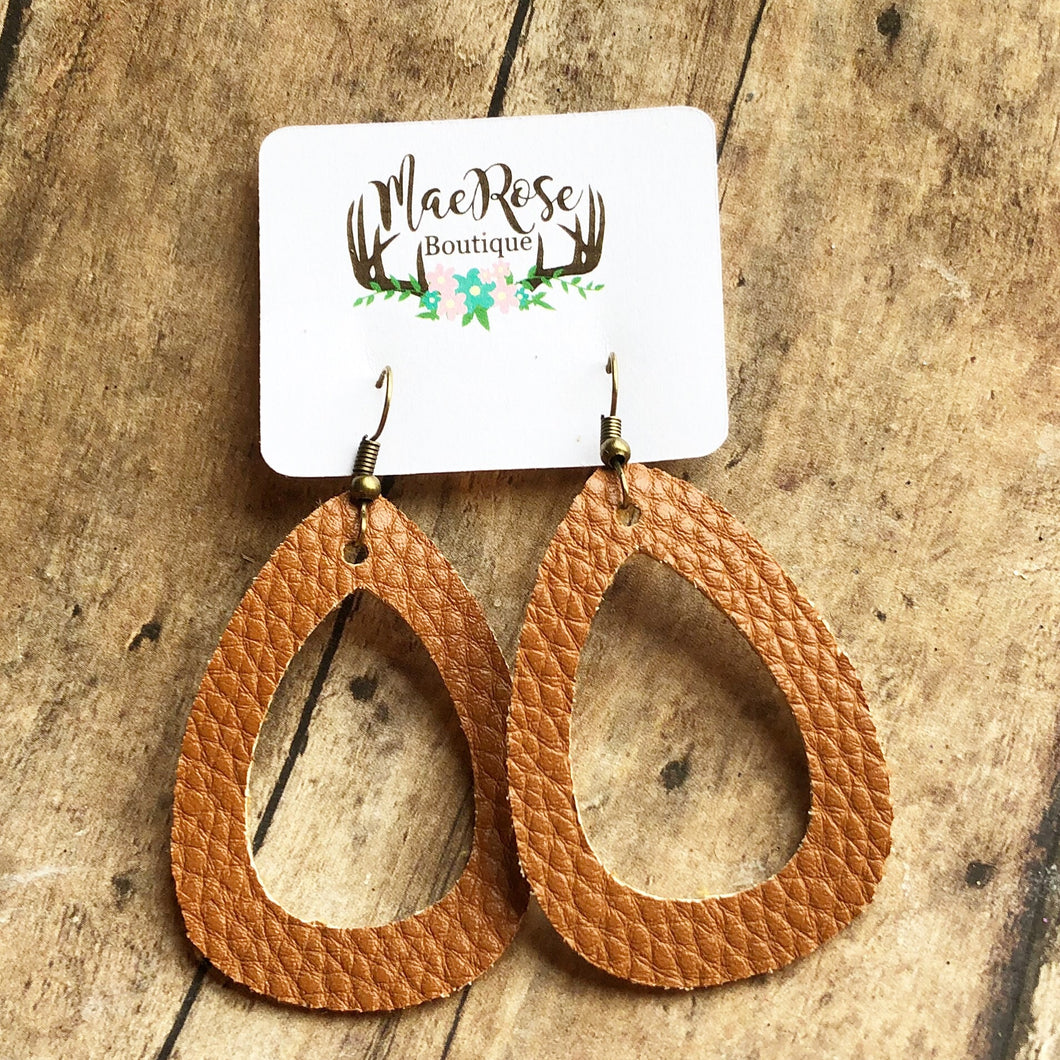 Toffee Faux Leather Cutout Dangles