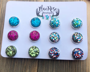 Set of 6 12mm Glitter Druzy Studs