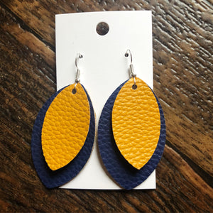 Mustard on Dark Blue Faux Leather Petal Earrings