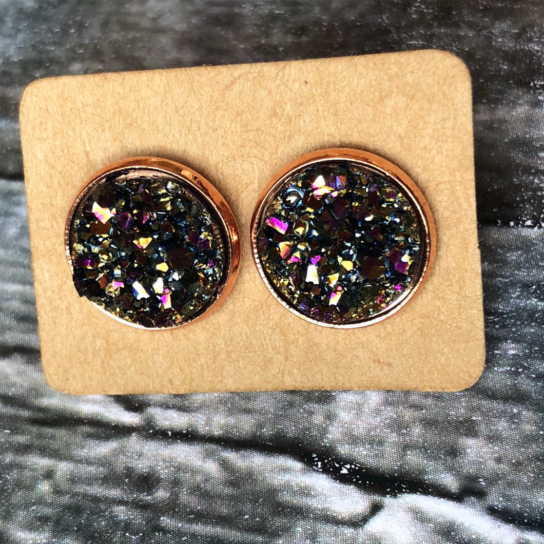 12mm Golden Magenta Faux Druzy in Rose Gold Studs