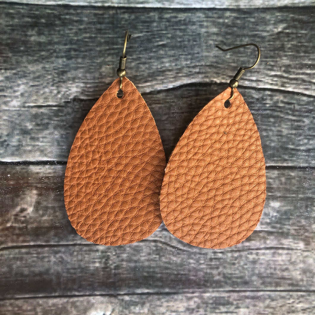 Toffee Faux Leather Earrings