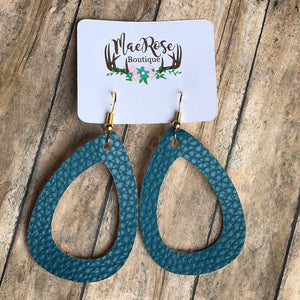 Dark Teal Cutout Faux Leather Dangles