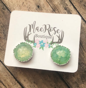 Light Green Crackle Marble in Silver Princess Cut Studs