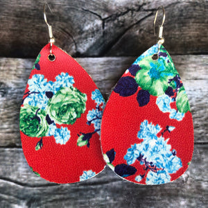 Red Floral Faux Leather Earrings