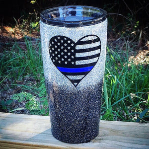 Blue Line Heart Glitter Tumbler | Red Line | Gold Line |