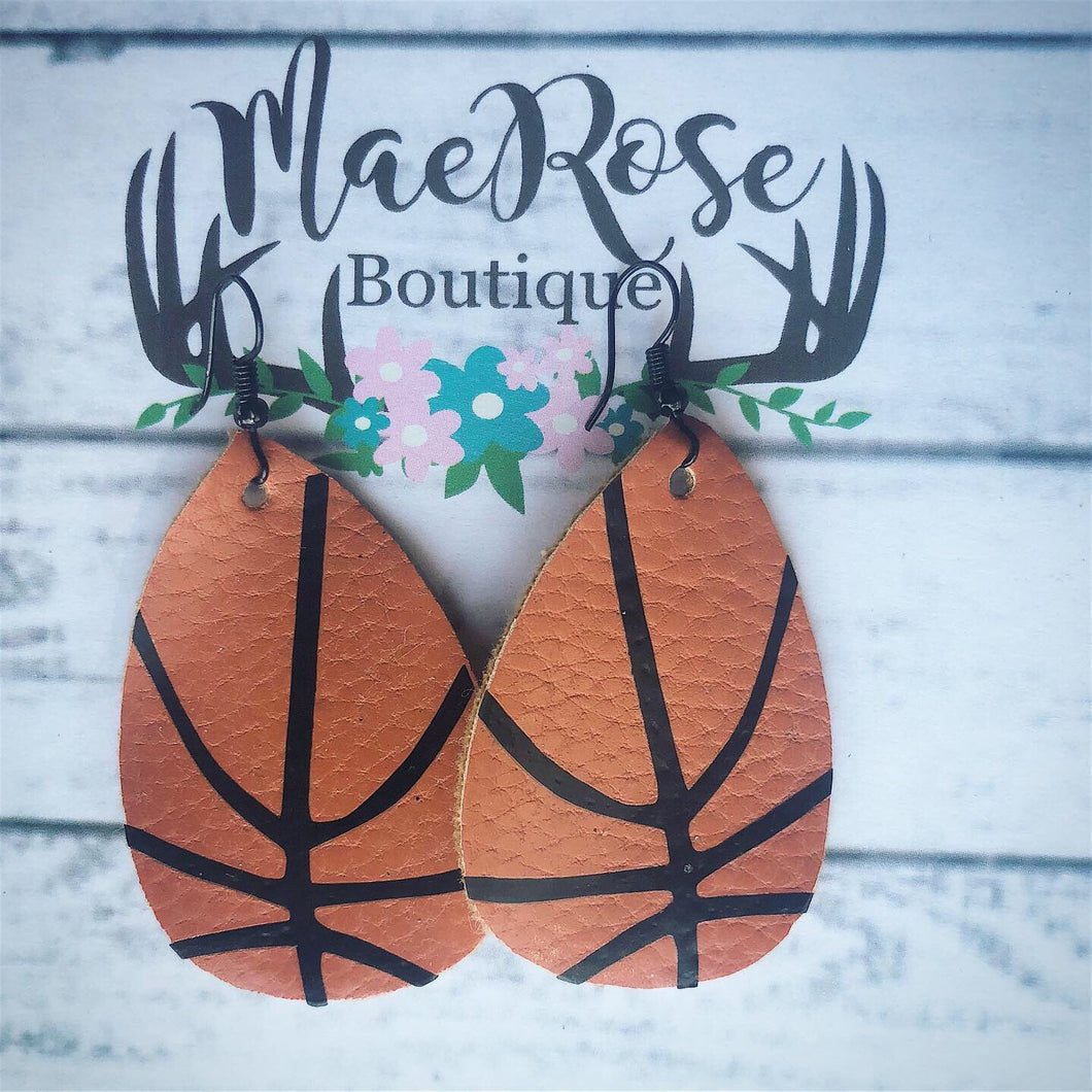 Basketball Faux Leather Dangles