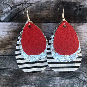 Red on Silver Glitter & Stripes Faux Leather Earrings
