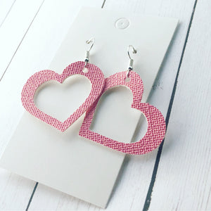 Blush Pink Shimmer Cutout Heart Leather Dangles