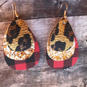 Cheetah on Gold Glitter & Buffalo Plaid Faux Leather Earrings
