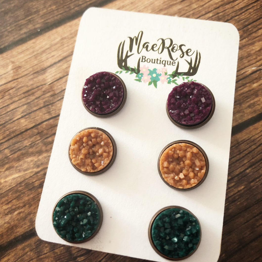 Set of 3 Plum, Mustard Yellow, & Green Druzy in Red Copper Studs