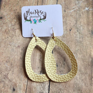 Gold Faux Leather Cutout Dangles