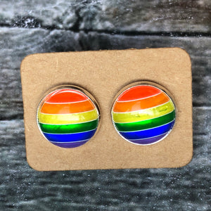 12mm Rainbow Stripes  in Silver Studs