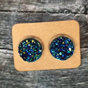 12mm Ocean Blue Faux Druzy in Silver Studs