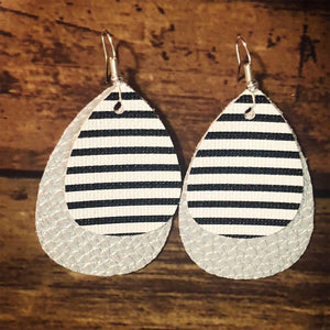 Stripes on Silver Faux Leather Dangles