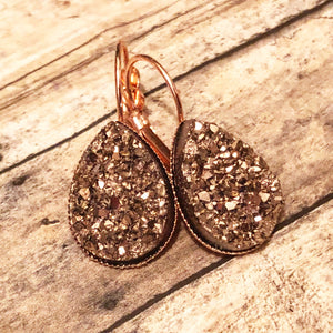 Rose Gold Faux Druzy TearDrop Dangles