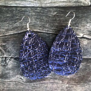 Berry Blue Crackle Faux Leather Earrings