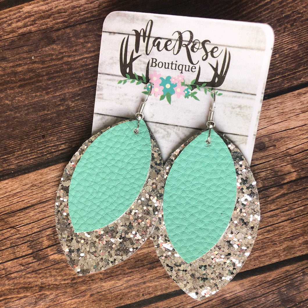 Seafoam & Silver Glitter Petal Leather Dangles