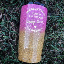 Blush Pink & Gold Ombré Glitter Insulated Tumbler