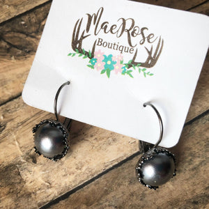 Dark Pearl in Gunmetal Princess Cut Dangles