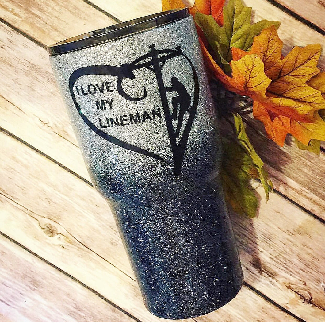 I Love my Lineman Glitter Insulated Cup