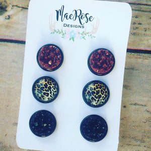 Set of 3 Maroon Cheetah & Black Druzy in Black Studs