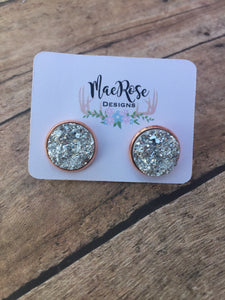 Silver Faux Druzy in Rose Gold Studs