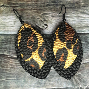 Cheetah on Black Petal Faux Leather Earrings