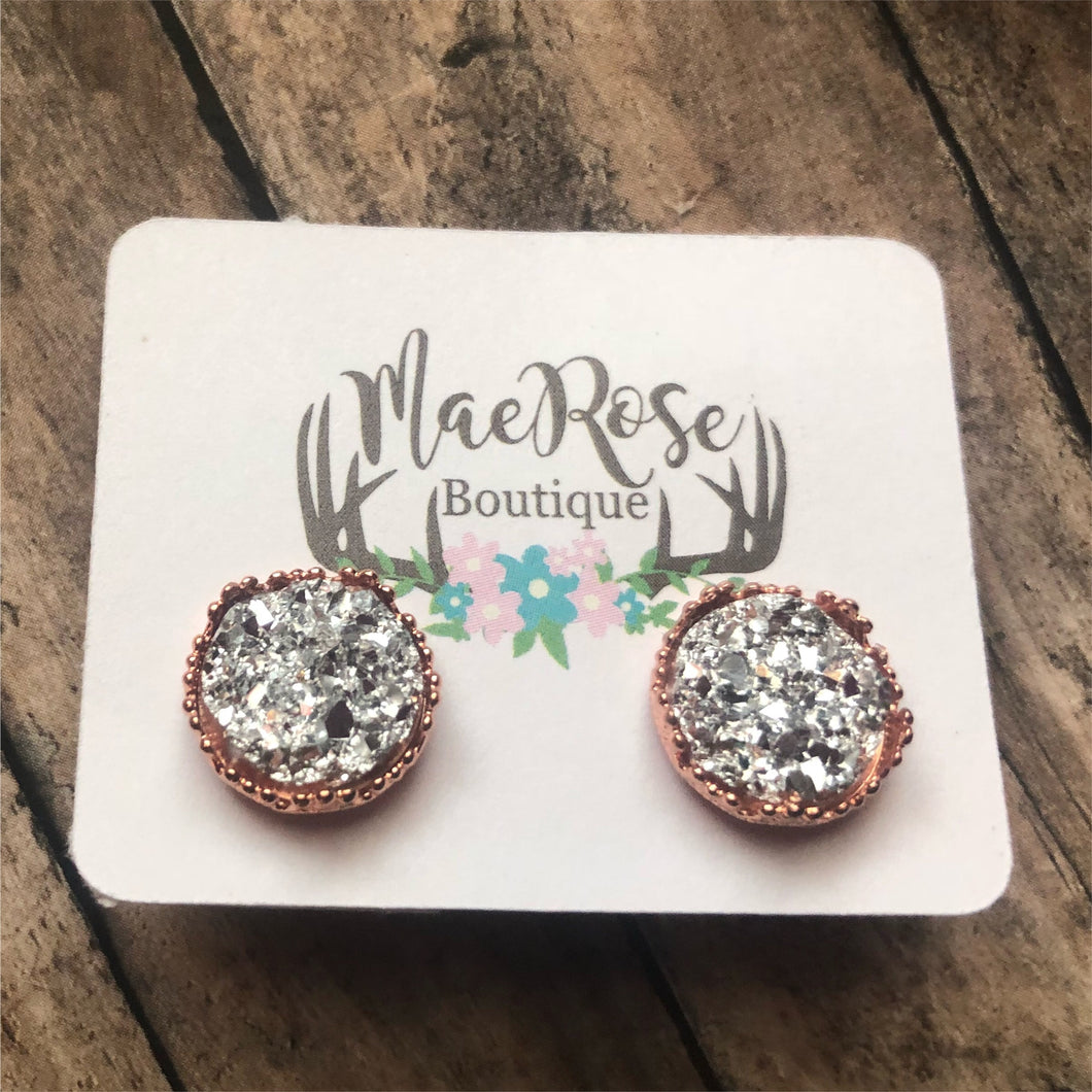 Silver Faux Druzy in Rose Gold Princess Cut Studs