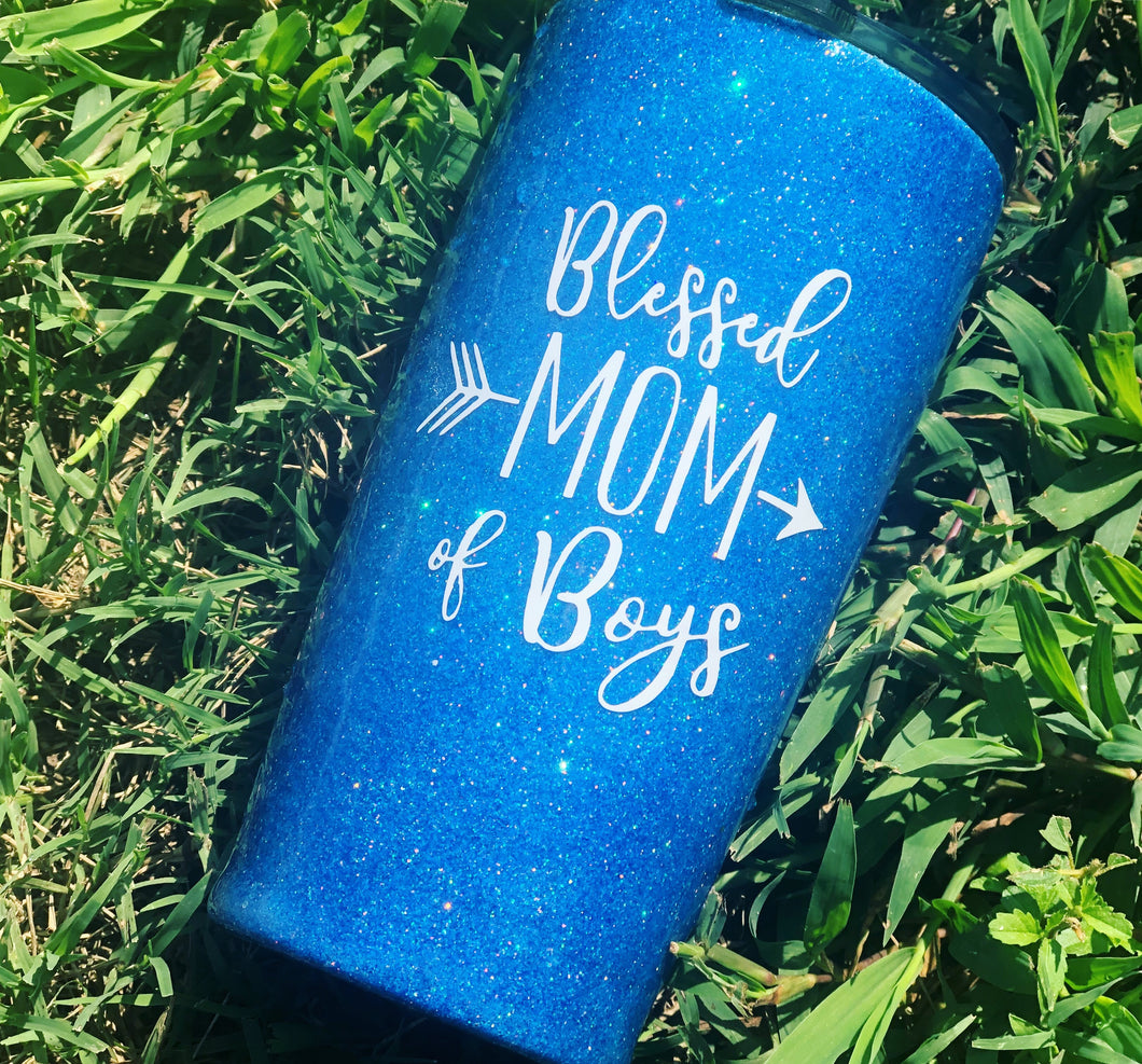 Blessed Mom of Boys Glitter Insulated Tumbler