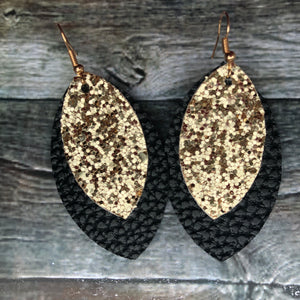 Gold Glitter on Black Petal Faux Leather Earrings