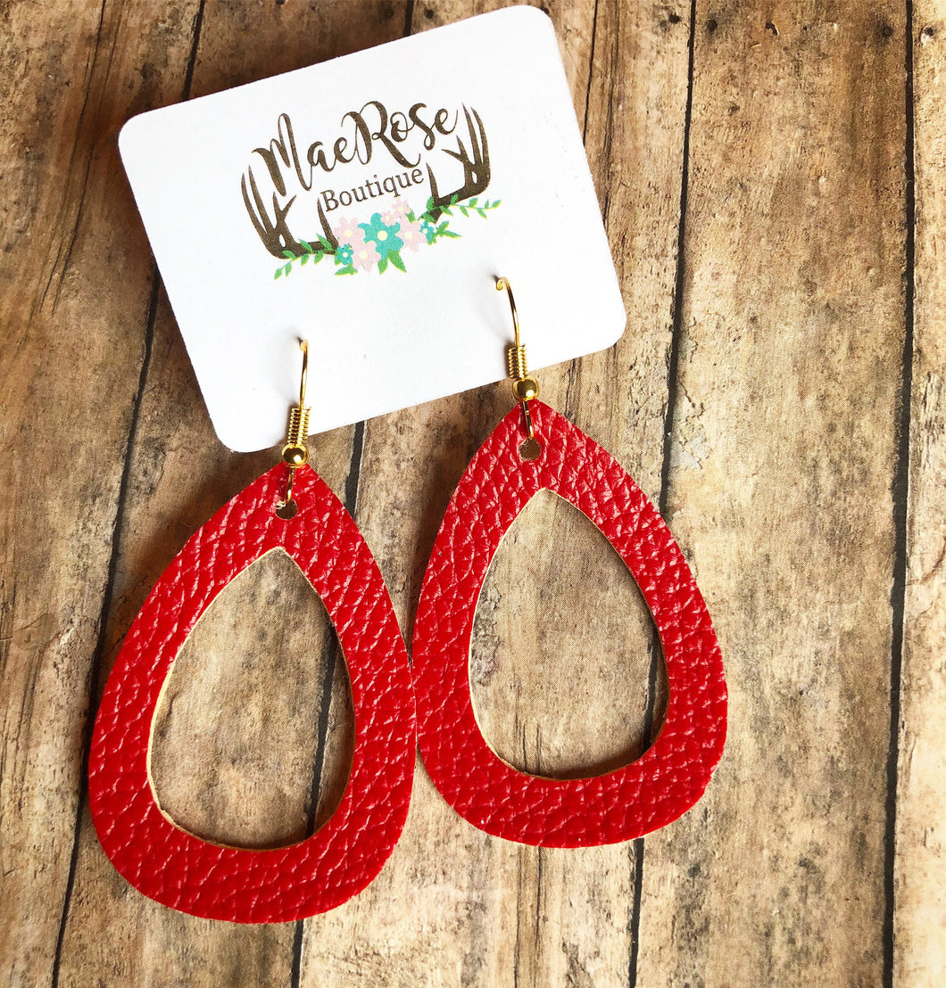 Red Cutout Faux Leather Dangles