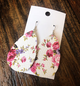 Pink & Purple Floral Faux Leather Dangles